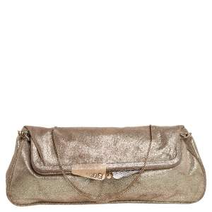 Fendi Metallic Gold Suede Borderline Chain Clutch