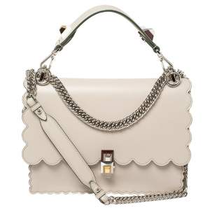Fendi Ivory Leather Kan I Scalloped Top Handle Bag
