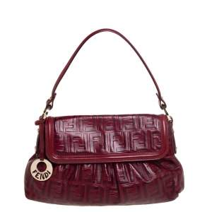 Fendi Red Zucca Leather Borsa Chef Bag