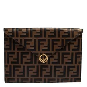 Fendi Brown Zucca Leather F Maya Envelope Pouch