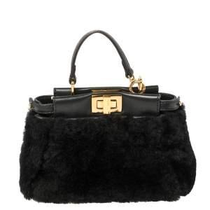 Fendi Black Shearling and Leather Micro Peekaboo Crossbody Bag