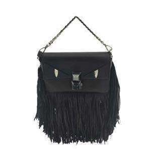 Fendi Black Leather Mini Baguette Shoulder Bag