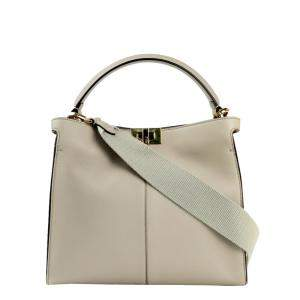 Fendi Beige Leather Peekaboo Shoulder Bag