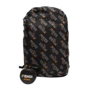 Fendi Black Leather Nylon Mania Backpack