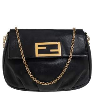 Fendi Black Leather Fendista Crossbody Bag