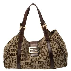 Fendi Brown Zucchino Canvas and Leather Borsa Piccola Satchel