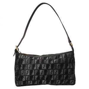 Fendi Black Zucchino Denim Pochette Zip Shoulder Bag