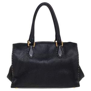 Fendi Black Selleria Leather Firenze Frame Satchel