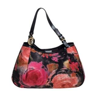 Fendi Multicolor Rose Zucca Fabric Tote