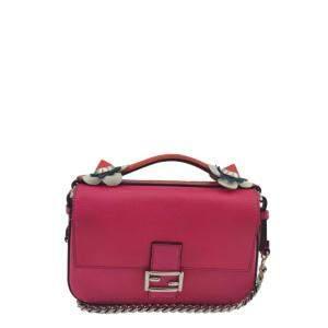 Fendi Pink Leather Mini Baguette Bag