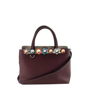 Fendi Brown Leather Flowerland 2Jours Bag