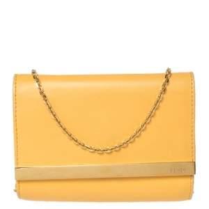 Fendi Mustard Yellow Leather Chain Clutch