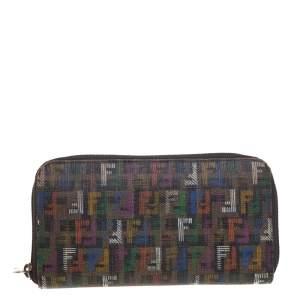 Fendi Multicolor Zucchino Coated Canvas Zip Around Wallet