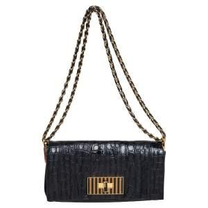 Fendi Black Croc Embossed Leather and Leather Claudia Shoulder Bag
