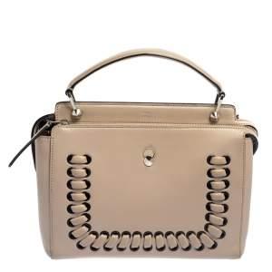 Fendi Beige Leather Whipstitch Dotcom Top Handle Bag