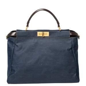 Fendi Blue/Dark Brown Denim and Leather Large Peekaboo Top Handle Bag