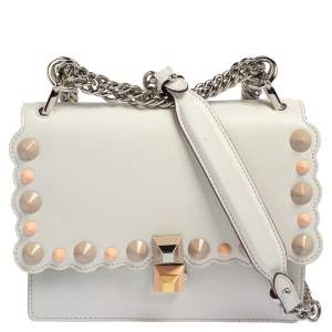 Fendi Ivory Leather Small Kan I Scalloped Top Handle Bag