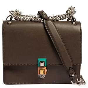 Fendi Brown Leather Small Kan I Crossbody Bag