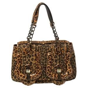 Fendi Brown/Black Leopard Print Fabric and Leather B Shoulder Bag