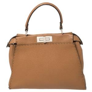 Fendi Brown Leather Medium Selleria Peekaboo Top Handle Bag