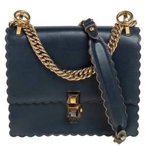 Fendi Navy Blue Leather Small Scalloped Kan I Shoulder Bag