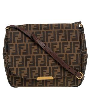Fendi Tobacco Zucca Canvas and Leather Flap Crossbody Bag