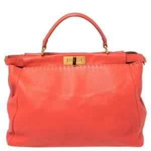حقيبة فندي بيكابو جلد سيلريا برتقالي مرجاني  كبيرة بيد علوية