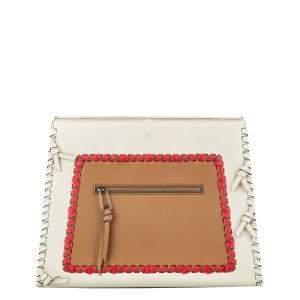 Fendi White/Brown Whipstitch Runaway Leather Satchel Bag