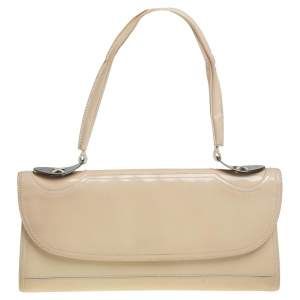 Fendi Beige Patent Leather East West Top Handle Bag