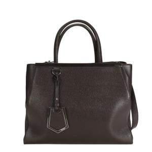 Fendi Brown Vitello Elite Leather Medium 2Jours Bag