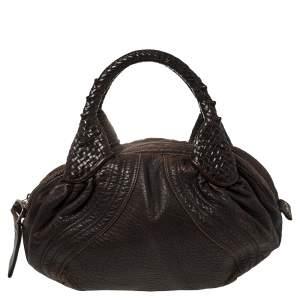 Fendi Dark Brown Pebbled Leather Spy Bag