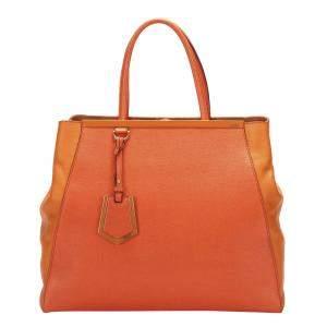 Fendi Orange Leather Large 2Jours Tote Bag