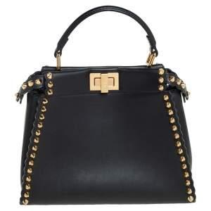 Fendi Black Leather Mini Studded Peekaboo Top Handle Bag
