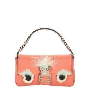 Fendi Pink/White Micro Monster Leather Baguette Bag