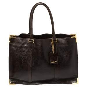Fendi Dark Brown Dimpled Leather Classico No. 4 Tote