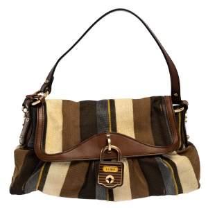 حقيبة فندي شيف جلد وقماش مقلم متعدد الألوان إصدار محدود بقلاب