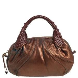 Fendi Metallic Bronze Textured Leather Baby Spy Bag