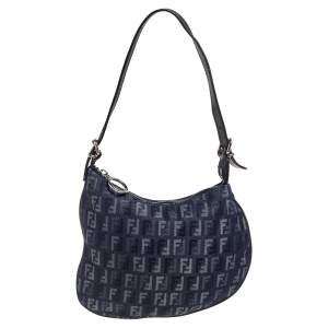 Fendi Blue/Brown Zucchino Canvas and Leather Shoulder Bag