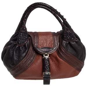 Fendi Brown/Tan Pebbled Leather Large Spy Bag