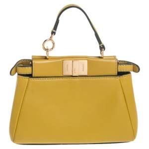 Fendi Yellow Leather Micro Peekaboo Crossbody Bag