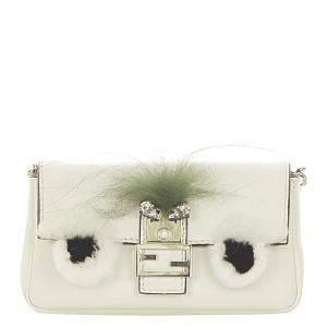 Fendi White Leather Micro Monster Baguette Bag