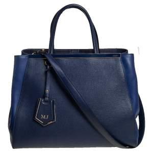 حقيبة يد توتس فندي 2جور جلد أزرق بلونين متوسطة