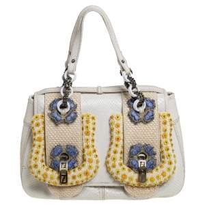 Fendi White Python Beads Embellished B Shoulder Bag