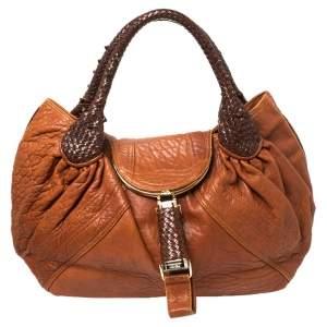 Fendi Tan/Brown Nappa Textured Leather Spy Hobo