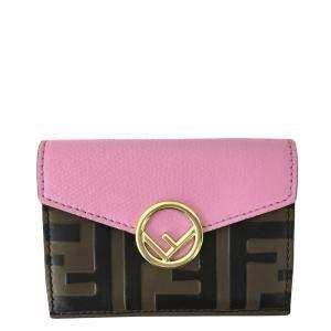 Fendi Brown/Pink Zucca Tri-fold Leather Wallet