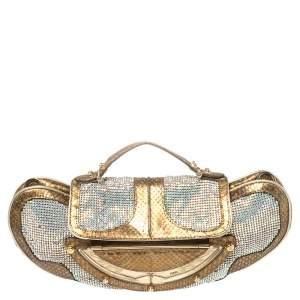 Fendi Metallic Gold Python Leather Crystal Embellished Top Handle Bag