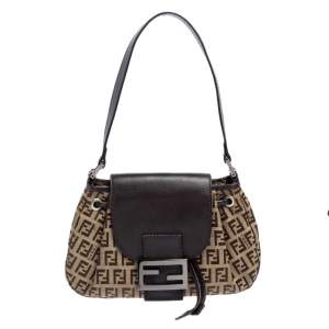 Fendi Tobacco Zucca Canvas and Leather Mama Baguette Bag