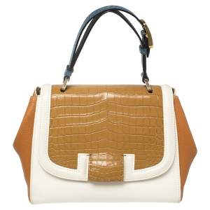 Fendi Multicolor Leather and Croc Leather Silvana Top Handle Bag