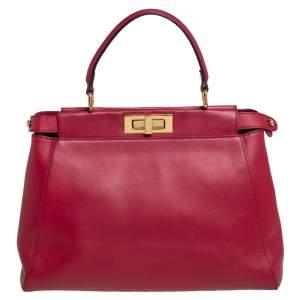 Fendi Red Leather Medium Peekaboo Top Handle Bag