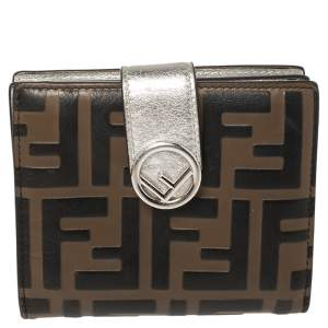Fendi Tobacco/Silver Zucca Embossed Leather Compact Wallet